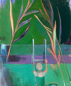 """Palms,"" original figurative painting by artist Charlotte Evans (USA) available at Saatchi Art #SaatchiArt"