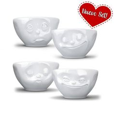 Small bowl set with a unique face shaped design made of restaurant grade porcelain of the highest quality. Buy them online at Givensa.com!