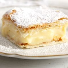 Two layers of puff pastry filled with a heavenly creamy vanilla cream.