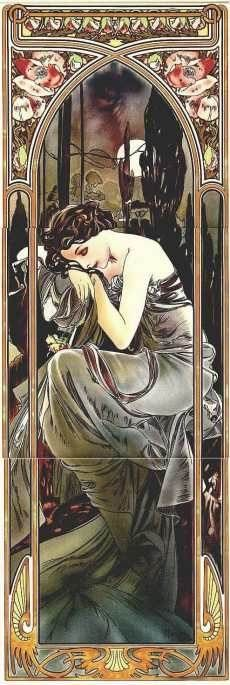Art Nouveau Fireplace Tiles. One  such  artist  and  designer   was Alphonse Mucha (1860-1939). Though born  in   Morovia,   the  present  day Czech Republic, he gained fame in 18-  90's Paris as an illustrator and artist in the Art Nouveau style.   His distinctive designs often featured beautiful young women in flowing robes or gowns.