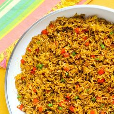 Spicy Turmeric Rice - a tasty side dish that goes well with everything from grilled fish to BBQ pork chops; terrific with added back beans in burritos too.