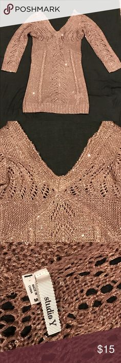 Maurice's Studio Y Sweater Maurice's light mauve sparkled sequin sweater.  Size medium.  Has been worn a few times but looks new. Studio Y Sweaters V-Necks