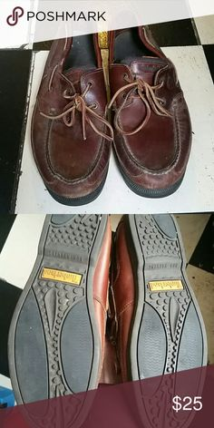Timberland Leather Boat Shoes Men's Timberland leather boat shoes. Size 11 in a reddish brown color. One quick shine and they'd look like new. Timberland Shoes Loafers & Slip-Ons