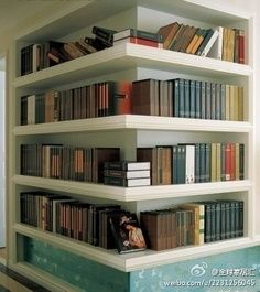 corner bookshelf...maybe we could do something like this in the new house where the weird statue is...