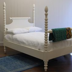 """A bestseller from English Farmhouse Furniture, this spindle bed proves timeless with a classic four-poster silhouette and beautiful carved details. A pair in twin size makes the perfect children's room combination, and larger frames suit a guest or master bedroom. Twin: 42""""W x 82""""L. Full: 58""""W x 82""""L. Queen: 64""""W x 88""""L. King: 80""""W x 88""""L. California King: 76""""W x 92""""L. Spindles: 69""""H. Hardwood. Available in multiple finishes. Made in USA. Wipe with dry cloth to clean."""