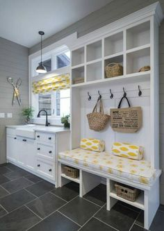 Laundry & Mud Room ideas for your next home. Let's chat about your favorites at our next home design chat! Mudroom Laundry Room, Laundry Room Design, Laundry Area, Mudrooms With Laundry, Mud Room In Garage, Laundry Room Curtains, Laundry Sinks, Laundry Decor, Laundry Drying