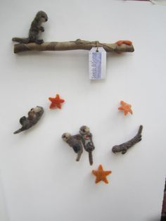 Baby Mobile, Sea Otter Pup, Sea Urchin and Sea Star needle felted baby mobile, nursery decor