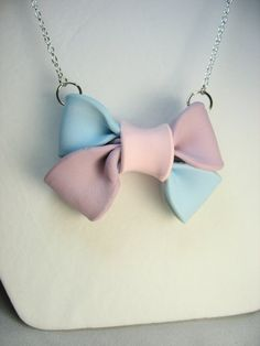 Bow necklace  big pastel colored polymer by lennonsleadinglady, $14.00