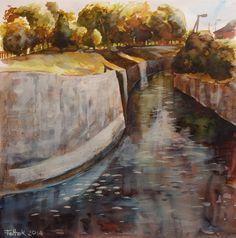 Wątok river in Tarnów, watercolor, 40x40 cm