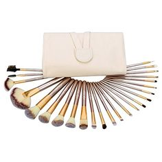 24Pcs Abody Makeup Brush Set, Professional Essential Cosmetic Make Up Brushes Kit with White Leather Bag ** Details can be found by clicking on the image. (This is an affiliate link) #BrushSets