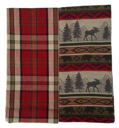 DII Kitchen Towel Set of 2 Jacquard Towels, Plaid Dishtowel & Woodland Animal Towel