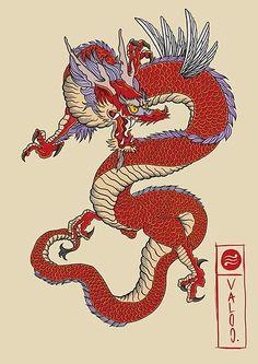 Tatoo Manga, Kunst Tattoos, Dragon Illustration, Kunst Poster, Japanese Dragon Tattoos, Drawn Art, Traditional Japanese Tattoos, Traditional Chinese, Dragon Artwork