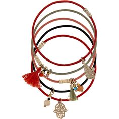 Accessorize 5x Charmy Stretch Bracelet Pack ($16) ❤ liked on Polyvore featuring jewelry, bracelets, beads jewellery, bohemian bangles, tassel jewelry, bohemian style jewelry and beading charms