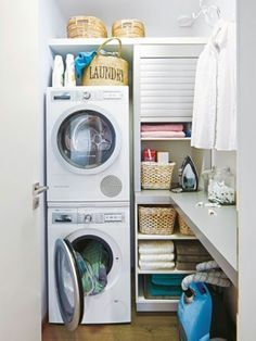 36 Tiny Laundry Room Decor With Saving Space Ideas The laundry room. 36 Tiny Laundry Room Decor With Saving Space Ideas The laundry room is often an overlo Tiny Laundry Rooms, Laundry Closet, Laundry Room Design, Laundry In Bathroom, Small Utility Room, Laundry Room Organization, Small Room Bedroom, Space Saving, Room Decor