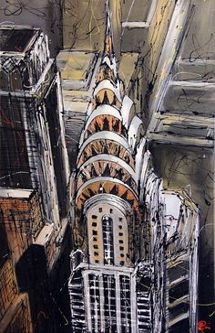 Chrysler building by Paul Kenton Skyline Painting, Cityscape Art, City Painting, Historical Architecture, Architecture Art, Paul Kenton, New York Drawing, Building Sketch, Abstract City