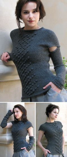 Free knitting pattern for Camden Top with convertible removable sleeves - Ashley Adams Moncrief designed this flattering top with the practical yet decorative removable sleeves. The top can be worn with or without the sleeves and the detachable sleeves can be worn as arm warmers. Sizes XS[S, M, L, 1X, 2X, 3X]