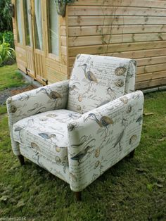 NEW-COTTAGE STYLE ACCENT GREY HERON& EGGS Chair Grade A fabric - £399.00