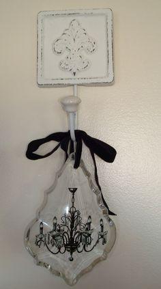 Distressed cast iron Fleur De Lis wall hook with milk glass knob-perfect!