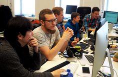 Startupia ei kannata rakentaa Tekesin rahoituksen varaan, muistuttaa Nord Softwaren Niklas Lahti. Kuvissa Nord Softwaren kehittäjiä.
