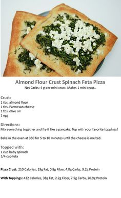 Almond-Flour-Crust-Spinach-Feta-Pizza- sub almond flour for baking blend Low Carb Meal, Healthy Low Carb Recipes, Ketogenic Recipes, Vegetarian Recipes, Scd Recipes, Low Carb Pizza, Meal Recipes, Greek Recipes, Recipes Dinner