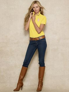 """Get into """"my closet"""" Classy Outfits, Casual Outfits, Ralph Lauren Womens Clothing, Fashion Vestidos, Cute Fashion, Womens Fashion, Polo Shirt Women, Camisa Polo, Stylish Girl Images"""