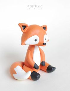 Fox Woodland Clay Cake topper and keepsake - perfect for woodland theme baby shower or first birthday, baby animal polymer clay ornament