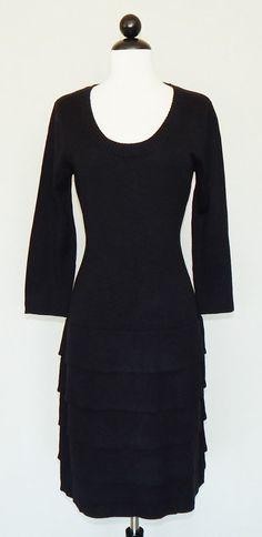 CALVIN KLEIN Black Scoop Neck 3/4 Sleeve Tiered Skirt Knit Sweater Dress Size M #CalvinKlein #SweaterDress #LittleBlackDress