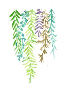 Abstract Ferns Print of original watercolor painting of ferns , green, Lime , Teal , Amber and purple , Plants, modern fresh wall decor. $21.00, via Etsy.