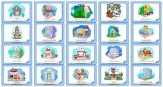 ESL flashcards forplaces in a town.