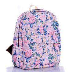 Floral Printed Purple Canvas Backpack
