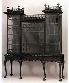 Gothic chippendale cabinet gothichome gothic chippendale cabinet diy upholstered gothic memo board black victorian pin board goth home decor Gothic Furniture, Antique Furniture, Cool Furniture, European Furniture, Wooden Furniture, Furniture Ideas, Furniture Design, Chinoiserie, Goth Home