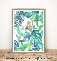 Tropical Leaves Print Watercolour Home Decor Botanical Art