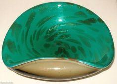 SPLENDID Authentic MURANO Glass BOWL Modern INCREDIBLE Metallic SPOTS Rare HUES
