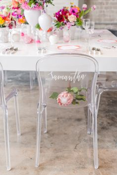 Lucite ghost chair:  http://www.stylemepretty.com/vault/image/4006804 Photography: Tina Jay - http://tinajayphotography.com/