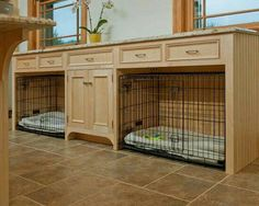 I need this in my life! Perfect place for my fur babies, dog food can be stored in the center cabinet!