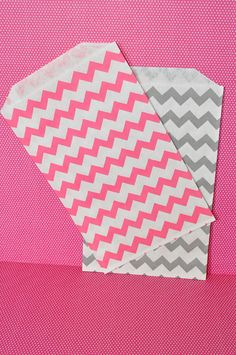 24 Pink and Gray Chevron Favor Bags  Paper by EnchantedFrogEvents, $5.50