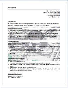 Medical Billing Resume   Sample Job Resume Layout | Free Sample .