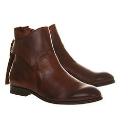 H by Hudson Etty Back Tie Boot Brown Leather - Ankle Boots