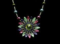 Pendants – Multicoloured sunflower pendant- green tone – a unique product by DarkEyedJewels on DaWanda