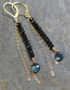 Elegant Drop Earrings Gold Black and London Blue Topaz | amyjoavnet - Jewelry on ArtFire
