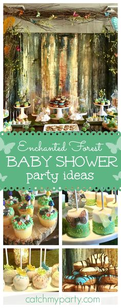 Don't miss this enchanting forest Baby Shower. The dessert table is incredible!! See more party ideas and share yours at CatchMyParty.com