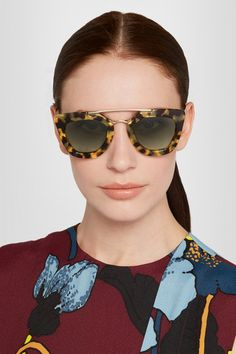 Tortoiseshell acetate, gold-tone metal 100% UV protection Come in a designer-stamped hard case Made in Italy