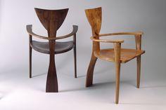 Finback Bar Stool   Custom Solid Wood Seating - Seth Rolland