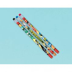 This dino-mite favor saves the birthday boy and friends from boredom. The kids can dino-charge homework and more with our Power Rangers Dino Charge Pencils. The wraparound print features 3 designs, in