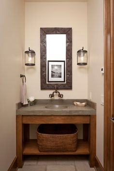 Phenomenal Bathroom Light Fixtures Decorating Ideas For Fair Powder Room Rustic Design With Baseboards Lighting Integrated Sink Jackson Hole