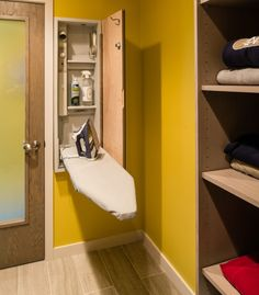 In-laundry room ironing board cabinet with outlet and shelves. modern laundry room by Bay Cabinetry & Design Studio Laundry Room Organization, Laundry Room Design, Closet Organization, Organization Ideas, Modern Laundry Rooms, Vintage Laundry, Iron Board, Small Laundry, Decorating Rooms