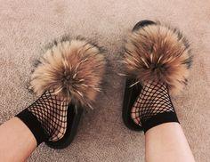 Brown Fox Fur Slides