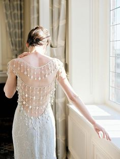 Florence silver lace Atelier Couture Designer Wedding Dress by Claire Pettibone with beautiful back detail.