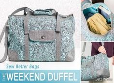 Sew Better Bags - The Weekend Duffel Sew beautifully constructed duffel bags that stand up to travel and stand out with custom style. Build your sewing skills to create bags as fun as they are functional. Duffle Bag Patterns, Bag Patterns To Sew, Pdf Sewing Patterns, Fabric Patterns, Sac Week End, Bag Pattern Free, Sewing Class, Patchwork Bags, Crazy Patchwork