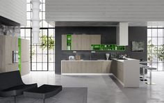 "Axis Cucine contemporary kitchen cabinet. Progetto 11. Freshness and design are perfectly matched in this composition. Wall cabinets and tall units are interrupted by colourful living elements which simplify the shapes of the project. The peninsula is developed through ""Extra"" modules h.84 with high storage capacity. By increasing both the height of the cooking area and the table behind, this modularity defines a new compositional language. Contemporary Kitchen Cabinets, Decoration, In The Heights, Storage, Table, House, Furniture, Wall Cabinets, Home Decor"